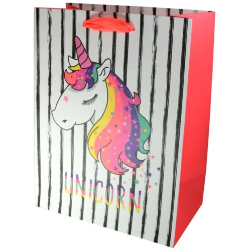 Quality Card Pink Striped Unicorn Birthday Party Gift Present Bag 23 cm Small