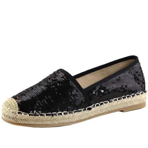 New Women Crochet Toe Espadrille Heel Slip On Sequin Loafer Flat Ballerinas Shoe