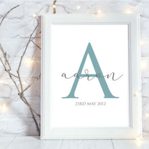 Personalised-A4-Print-Initial-Baby-Family-Name-Gift-Wall-Art-NO-FRAME