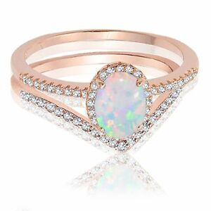 Details about  /Rose Gold Finish Princess Blue Fire Opal Engagement Wedding Silver Ring Set