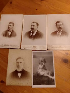 Antique-Cabinet-Card-Photos-4-Various-Location-Plus-Post-Card-Photo-England