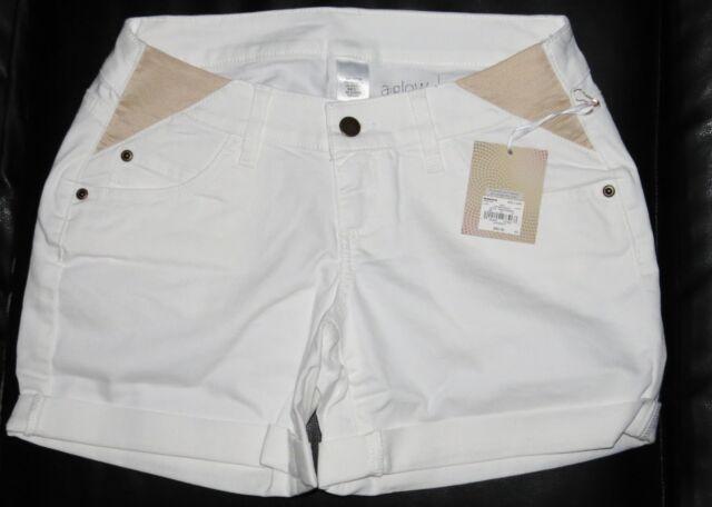 1dc844ea568a7 Maternity Shorts Side Panel NEW size 6 a glow NWT White Denim Boyfriend  Small S