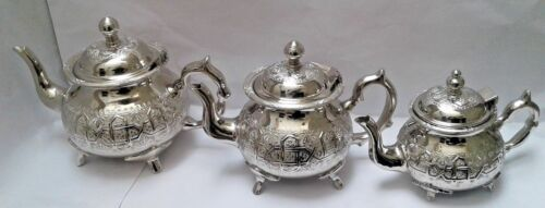 Tea Pot Handmade Brass Silver Plated From Fes Moroccan