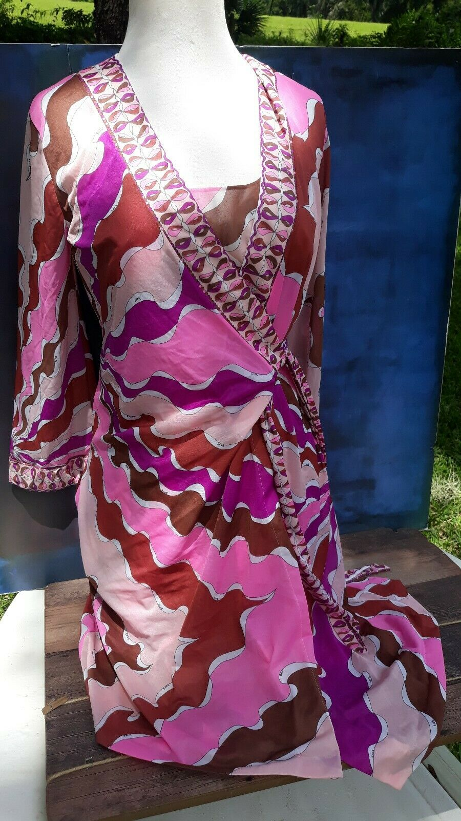 Vintage 60s' Emilio Pucci Nightgown Robe Set Pink Mod Hippie Form Fit Rogers