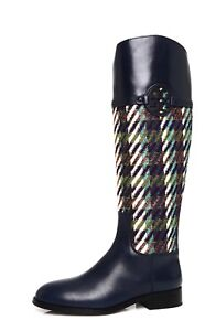 efa8a2ec2341 Tory Burch Miller Women s Leather Bright Navy Riding Boot Sz 7 M ...