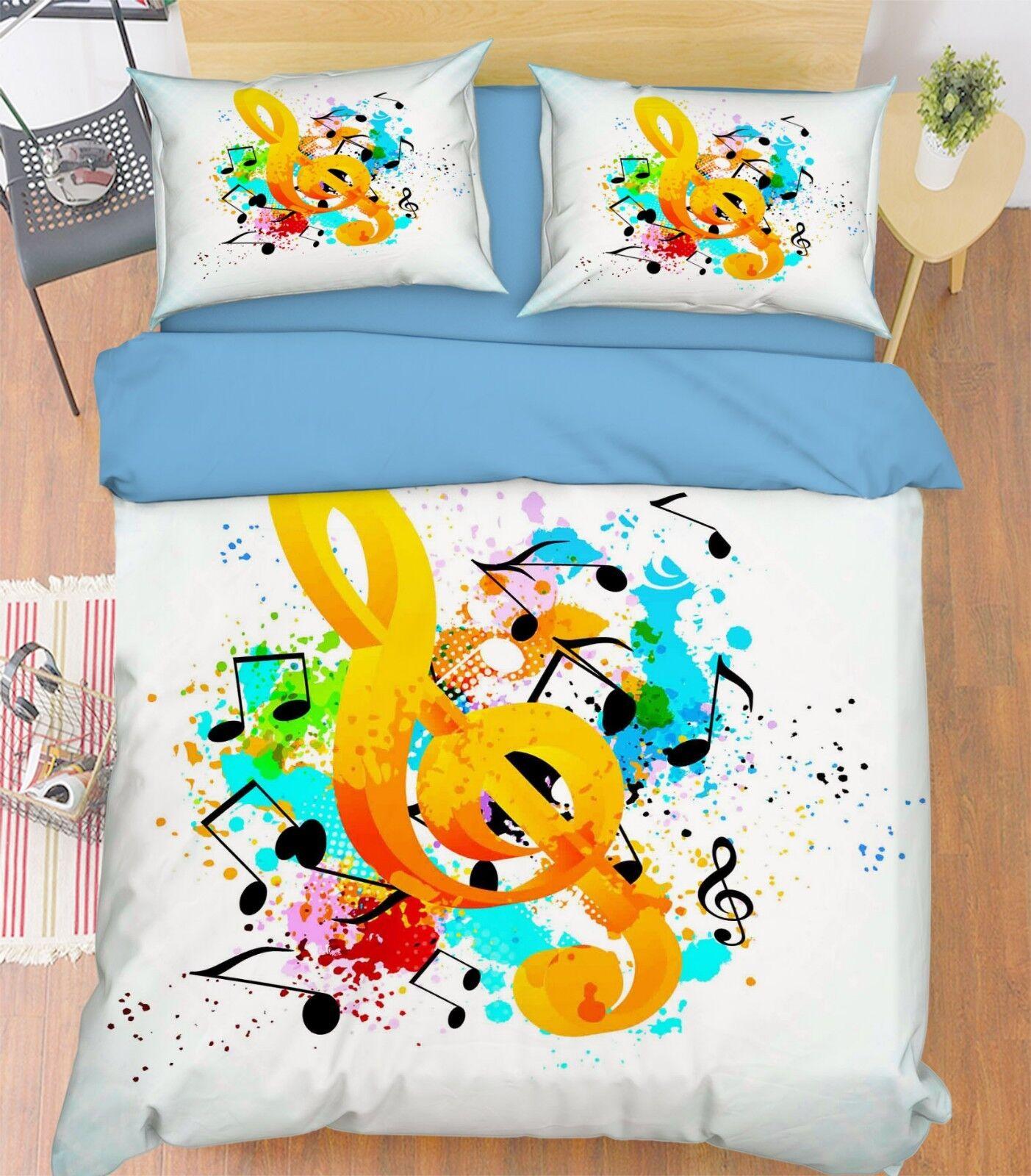 3D Musical Notes 5 Bed Pillowcases Quilt Duvet Cover Set Single King UK Summer