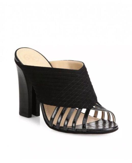 454b634ac Tory Burch BLACK Mule Sandals Suede Patent Leather Block Heel  350 NIB Size  6