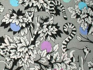 Free Spirit Tula Pink Linework Lemur Me Alone PWTP154.Ink Cotton Fabric BTY