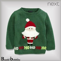 BNWT NEXT £15 Xmas Christmas Baby Boys Green Musical Jumper 3-6-9-12 Months