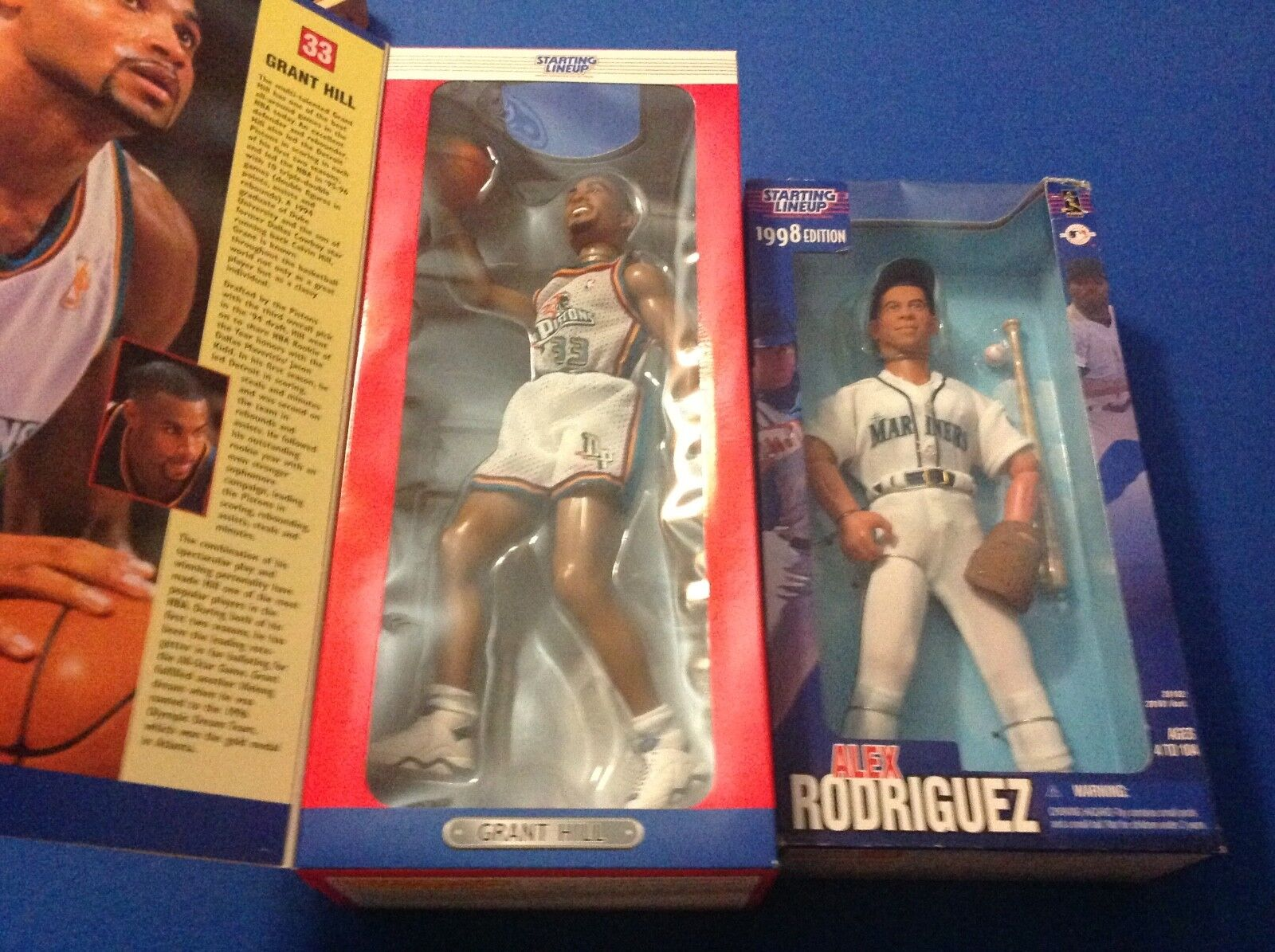(2)1997 KENNER SLU PISTONs GRANT HILL 12 INCH FULLY POSEABLE FIGURE and AROD