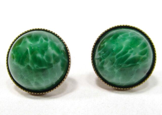 SoHo® Ohrstecker vintage bronze bohemia jade grün 1960´s handgemachtes Glas 60er
