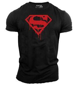 Men-039-s-Bodybuilding-T-Shirt-Gym-Training-Top-Superman-T-Shirt-Red-Drip