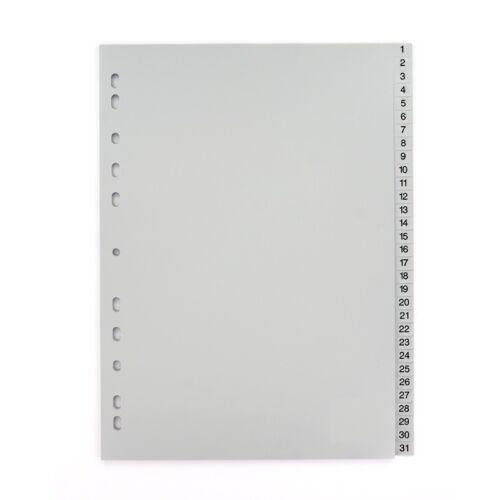 20 x Ordner-Register Zahlenregister Register Ordner grau 1-31 Tagesregister