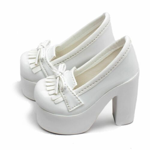 55# White 1//4 MSD DOD BJD Dollfie High Heel Synthetic Leather Shoes PF