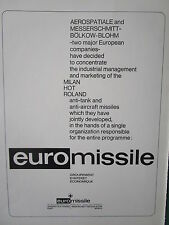 3/1973 PUB EUROMISSILE MISSILE HOT MILAN ANTI TANK ANTI AIRCRAFT ROLAND AD