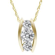 1/2ct Three Stone 3 Diamond Pendant 14K Yellow Gold