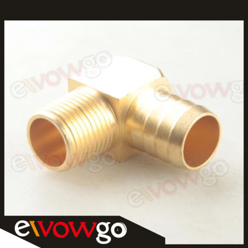 """3//4/"""" Male 90 Elbow Brass Hose Barbs Barb To 1//2/"""" NPT Pipe Male Thread"""