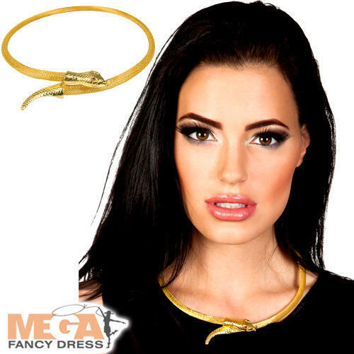 Cleopatra Egyptian Gold Necklace Ladies Fancy Dress Snake Jewellery Costume Acce