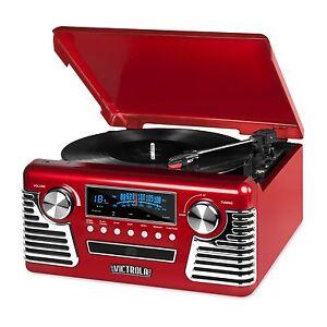 Retro-3-Speed-Bluetooth-Record-Vinyl-Turntable-Stereo-AM-FM-Radio-CD-USB-Speaker