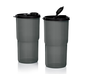 Two-Tupperware-Thirstquake-Tumblers-Large-30-oz-Travel-Cups-Pour-Seal-Black-New