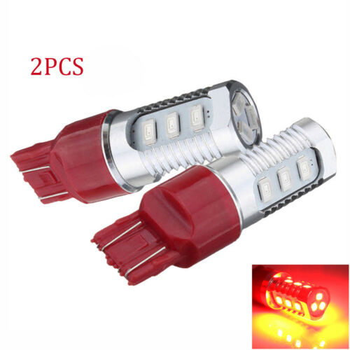 2SET 7443 Red Flash Strobe Rear Safe Alert Brake Tail Stop LED Lights Bulbs USA