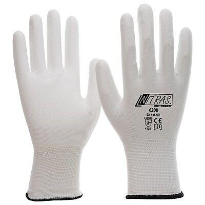 CAT II PU Handschuhe Gr.: XL weiss Mechaniker//Montage NITRAS 6200 Nylon
