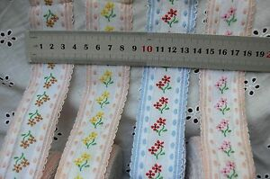 Scallop-Lace-Edge-Flowers-Braid-Trim-38mmWide-x6-Metre-Length-4-styles-amp-Colours
