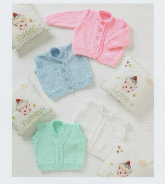 "UKHKA Knitting Pattern Waistcoat /& Slipovers DK 12-20/"" UKHKA122 Baby Cardigan"