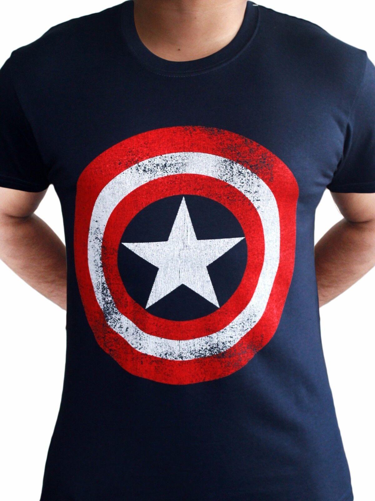 Maglietta con logo dello scudo Capitan America invecchiato blu navy adulto film