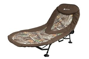 North Fork Adjustable Camo One Person Camping Cot, Green Camo Cushioned 22.7 lbs