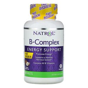 Natrol Vitamin B Complex Fast Dissolve,90 tablet Energy Support Coconut Flavor