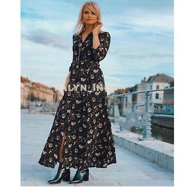 Nwt L XlEbay Print Aw18 Shirt Flowing M Zara 4786275xs Long Black S Floral Dress WrdoBCex