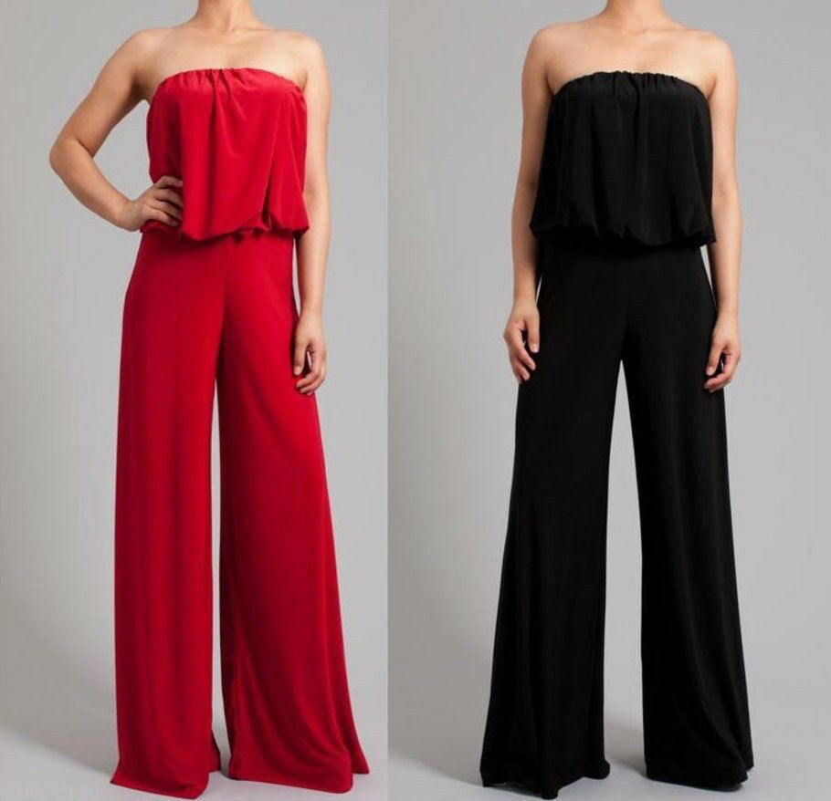 Plus Size Strapless Wide Leg Dress Jumpsuit Palazzo Pant Suit