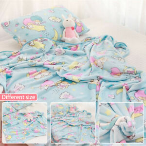 Anime-Twin-Stars-Blue-Flannel-Blanket-Bed-Sheet-Soft-Warm-Cute-Plush-Bedding-US