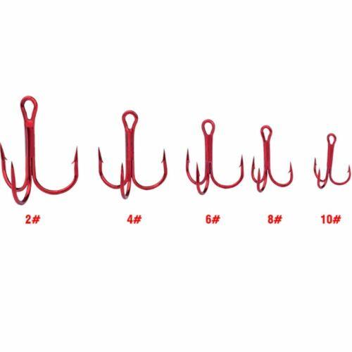 10pcs//lot Red Treble Fishing Hooks 2# 4# 6# 8# 10# High Carbon Steel Material