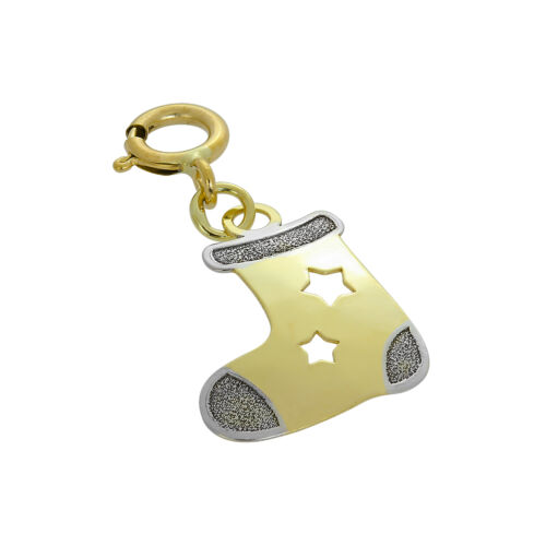 Real 375 9ct Gold Christmas Stocking Clip on Charm w Cut Out Stars