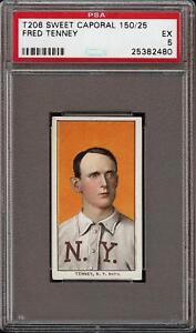 Rare-1909-11-T206-Fred-Tenney-Sweet-Caporal-150-Factory-25-New-York-PSA-5-EX