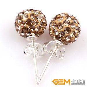 8mm Sparkle Clay Rhinestone CZ Crystal Pave Disco Ball Beads Stud ... bf07b8cf11e3
