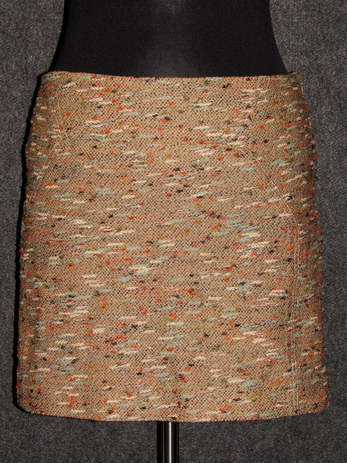 DIANE VON FURSTENBERG colorful Woven Tweed Mini Skirt SZ 12 NEW