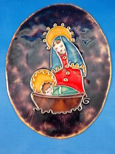 Älteres Emaille Bild Maria mit Jesuskind Stegemaille 11,5x9cm