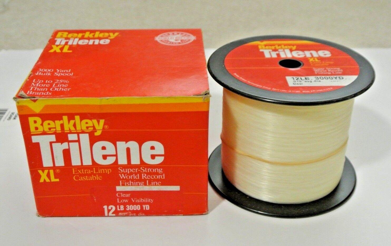 New NOS Berkley XL3012-15 Trilene XL 12 LB 3000 YD Clear Fishing Line
