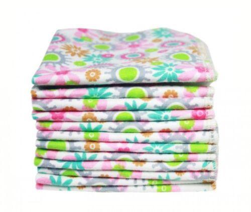 12 Mullwaschlappen Babypflege Baumwolltücher Mädchen Blumen  rosa Baby NEU NEU