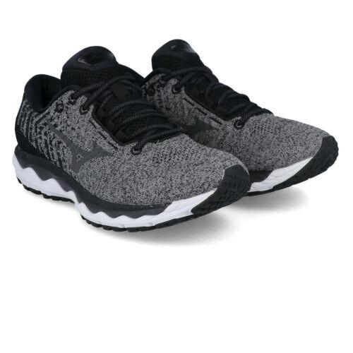 Black Grey Mizuno Mens Wave Sky Waveknit 3 Running Shoes Trainers Sneakers
