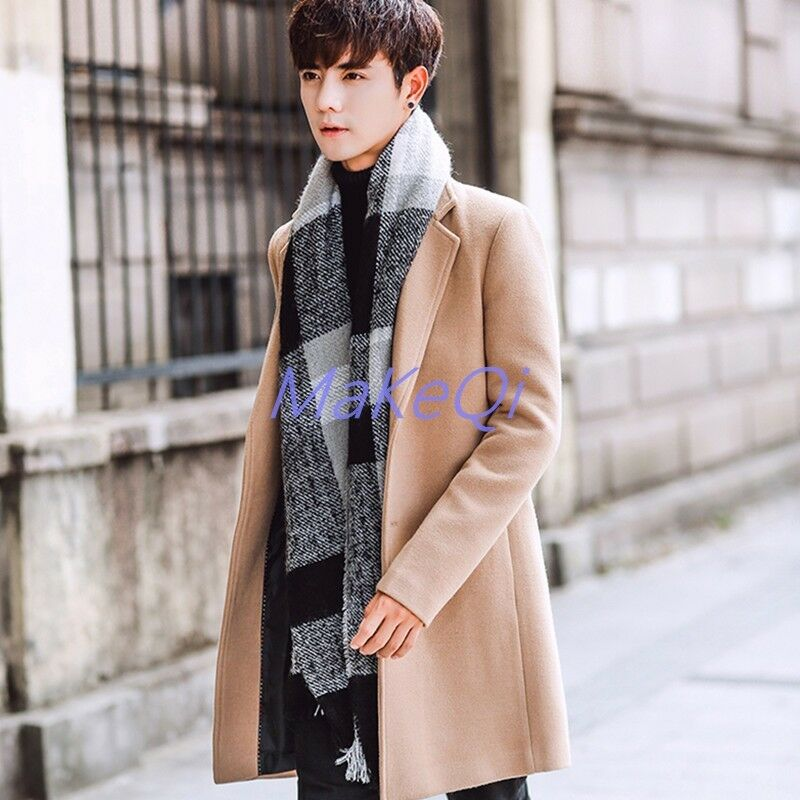 Slim Fit Long Trench Coat Outwear Overcoat Fashion Wool Blend Winter Parka Coat