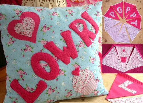 Kids Girls Personalised CUSHION & BUNTING Christening New Baby Gift Present Name