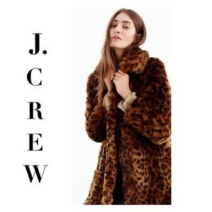 3d6925cc5be6f J CREW COLLECTION Faux Fur LEOPARD Coat G9553 XS SMALL MEDIUM XL ...