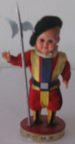 Doll dressed Swiss Guards guarding the Vatican. 1960. Free shipping.