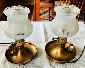 Vintage-Pair-brass-Table-Lamps-beautiful-Etched-Light-Blue-Glass-Post-1950-s