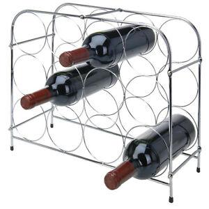 12 Bottle Wine Rack Stand Worktop Chrome Finish Storage Floor Standing Holder 5060767485378 Ebay