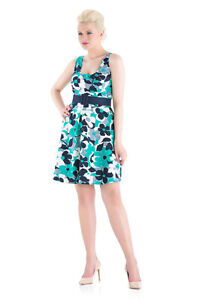 Women-039-s-Teal-Floral-Pattern-50-039-s-Rockabilly-Swing-Elegant-Mini-Dress